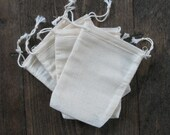 3.25x5 Double Drawstring Cotton Muslin Bags 50 count