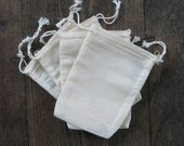 25 2.75x4 inch Cotton Muslin Double Drawstring Bags