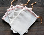 50 4x6 inch Cotton Muslin Bags With Red Hem and Orange Drawstrings