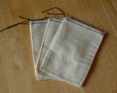 100 4x6 Muslin Drawstring Bags Black Hem and Drawstring