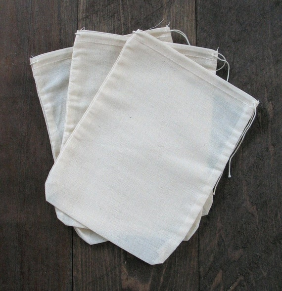 100 6 x 8 Cotton Muslin Drawstring Bags