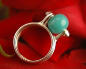 Sterling Silver Interchangeable Bead Ring, Handmade Glass Bead