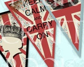 Bunting - Carry On And Keep Calm - Collage Sheet - Digital Download  - Altered Art -  U Print - Scrapbooking - Banner Flag Pennant 11BUNTING