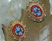 Vintage Glass Mosaic Earrings- Red Clip-on