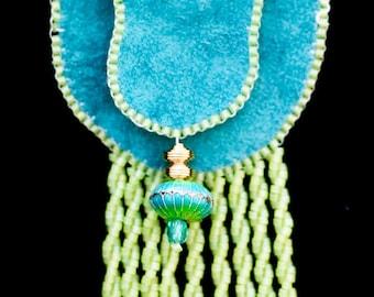 Cloisonne Drop Amulet Bag in Turquoise