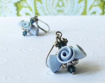 blue moon rose earrings
