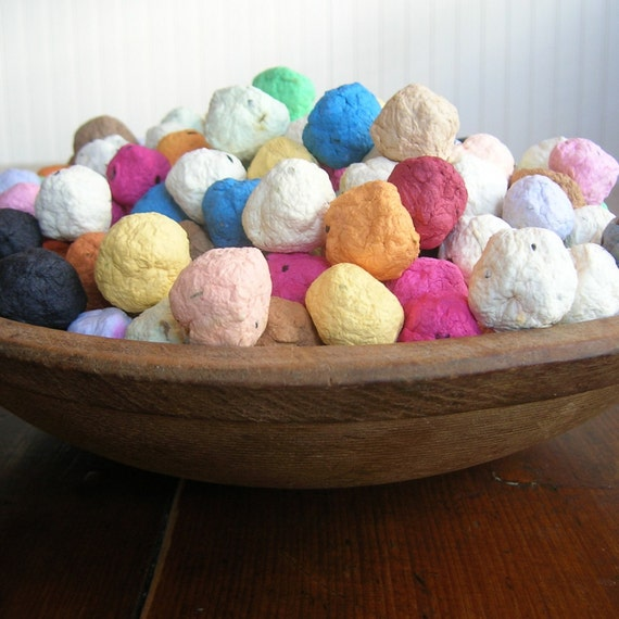 Seed Bombs - colorful balls of handmade paper embedded with perennial and annual flower seeds to throw and grow - package of 30 in mixed colors