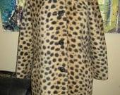 Vintage 60s reversible Faux fur leopard print coat