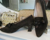 Vintage brown suede lace up  witch heels with ribbon laces victorian