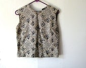 Vintage 50s cropped metallic brocade sleeveless blouse with zipper in back