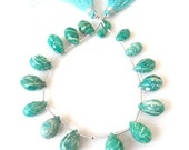 SALE - Strand of 18 Marbled AMAZONITE Faceted Drop Briolettes - 12 to 14mm - Reduced from 32.00 -    (ref.11251)