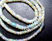 8.5 inches AAA White ETHIOPIAN OPAL Smooth Rondelle Beads - 3 to 5mm   (ref.15628)