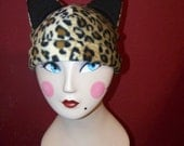 Leopard Print Kitty Cat Hat Fleece Cosplay Anime Winter Hat Beanie
