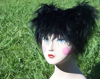 Black Fur Hat Furry Kitty Cat Hat Perfect for Burning Man or Festivals Animal Hat Spirit Hood