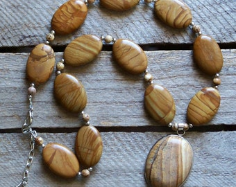 CLEARANCE Lovely Wood Jasper and Picture Jasper Necklace