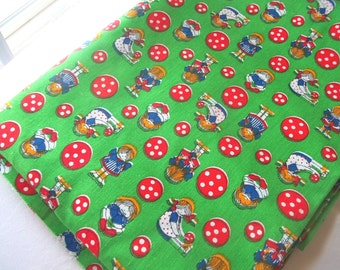 Green Red Fabric vintage 1970s  ball and doll print 1 yard - 5 yards available