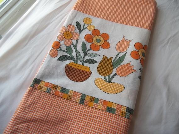 Vintage 1970's Orange Floral Crazy Daisy Checked Horizontal Print Fabric 1.75 yards