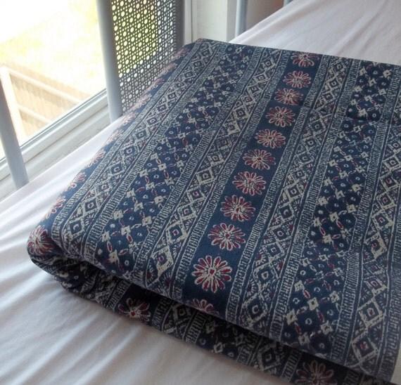Vintage Indigo Patterned Stripe Upholstery Fabric 1 yard 27 inches