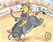 POOH and EEYORE equestrian and cowboy antics horse art