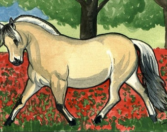 HORSE ART 8x10 Norwegian Fjord pony Trotting Crimson Clover Field