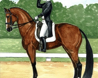 DRESSAGE BAY Halt Salute Male Rider LOVELY PRINT 8x9