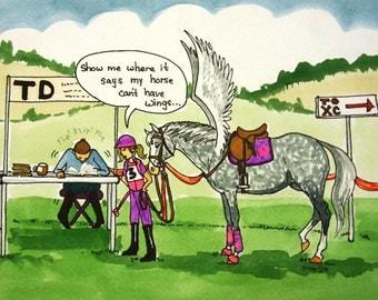 8x10 watercolor cartoon horse art EVENTING HORSE SHOW pegasus