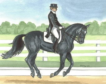 Dressage Master Black Horse and Rider Canter