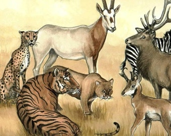 ACEO Hillary's Menagerie II ANOTHER SHOT wild animals in harmony
