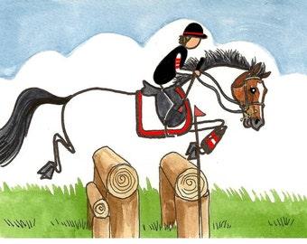 ORIGINAL STICK HORSE art Happy Log Oxer Sweet Pony
