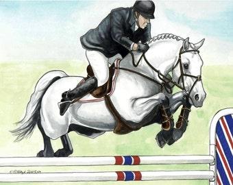 FINE ART HORSE PRINT grey showjumper over stripes