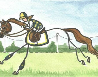 STICK HORSE art by ellen CHECKIN TIME XC jumping