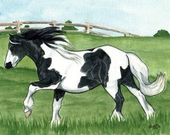 HORSE ART 8x10 Gypsy Vanner Galloping LOVELY