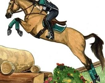 HORSE ART 8x10 Big Leap Buckskin Cross Country XC
