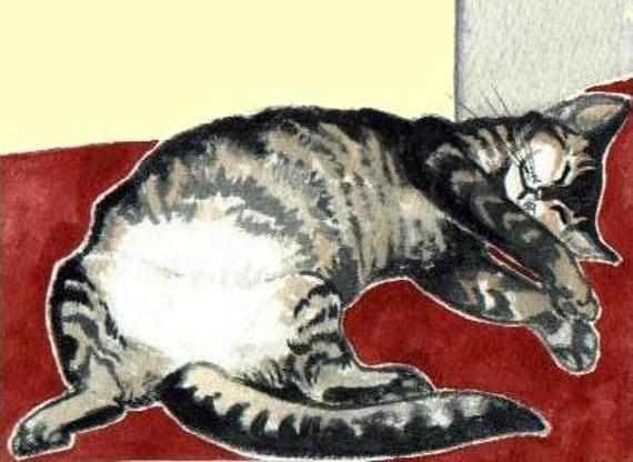 ACEO PRINT tummy kitty SWEET CAT ART