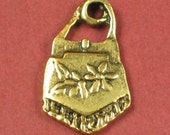 6 Antique Gold Brass Purse Charm Pendent 17