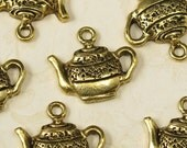 6 Antique Gold Tea Pot Charms Jewelry Findings 694