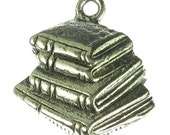 Silver Book Charm in Antique Silver Jewley Findings - 6 pcs - 1031
