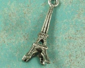 6 Antique Silver Eiffel Tower Charm Jewelry Finding 634