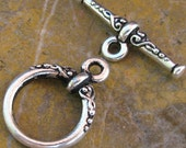 6 Antique Silver Toggle Clasps Jewelry Findings 415