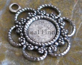Reserve Listing for MF - Antique Silver Flower Rhinestone Setting 1 Ring Jewelry Finding 600 -53