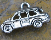 6 Antique Silver Taxi Charm Jewelry Findings 1252