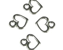 12 Antique Silver Pewter Heart Charms Jewelry Findings 520