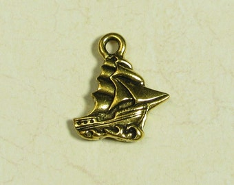 6 Pcs 22k Gold Plated Pewter Pirate Ship Boat Charms Finding 793