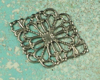 12 Antique Silver  Brass Filigree Jewelry Findings 387