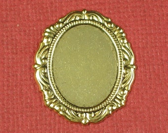 12 Antique Gold Cameo Setting 18x13 Jewelry Findings 617
