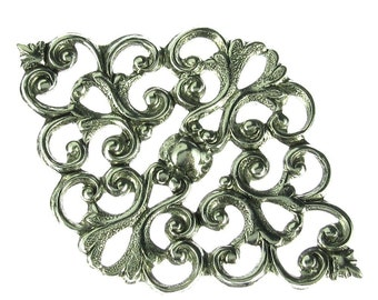 6 Antique Silver Victorian Filigree Jewelry Finding 427