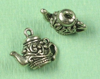 6 Antique Silver 3D Tea Pot Charms Jewelry Findings 693 - Discontinued Last Set