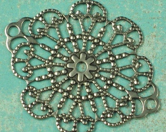 Filigree Connector Jewelry Findings Old World Silver 639 - 6 Pieces