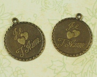 French Charms Je T Aime  - I Love You Jewelry Finding Antiqued Brass Color 655 - 6 Pieces