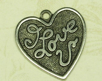 6 Antique Silver Brass Heart Love Charms Jewelry Finding 765